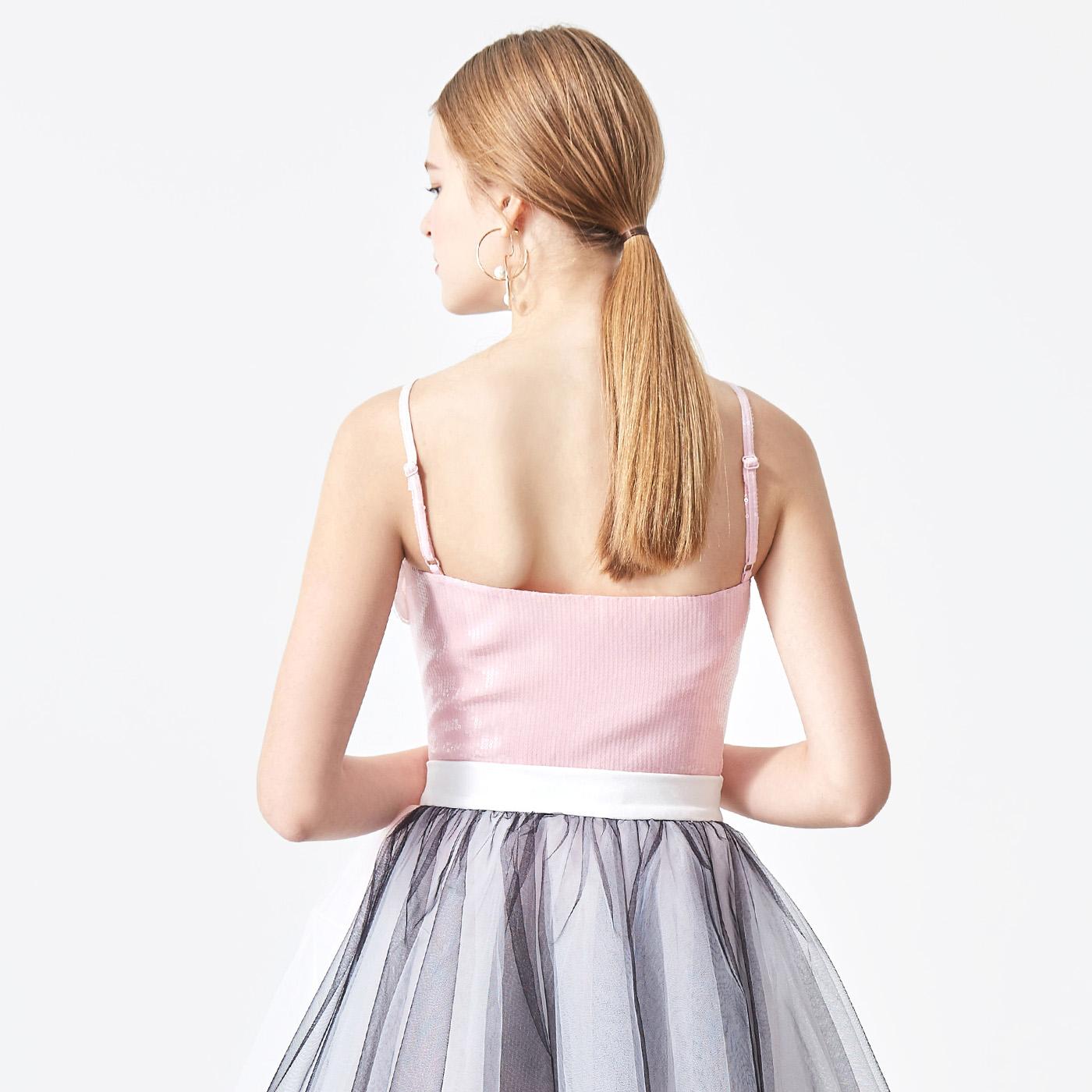 糖力2018夏新款欧美亮片雪纺吊带花边修身短款背心上衣女