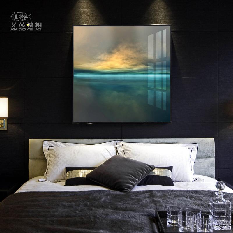 晶瓷画大气客厅装饰画沙发背景墙别墅酒店轻奢后现代挂画样板房画