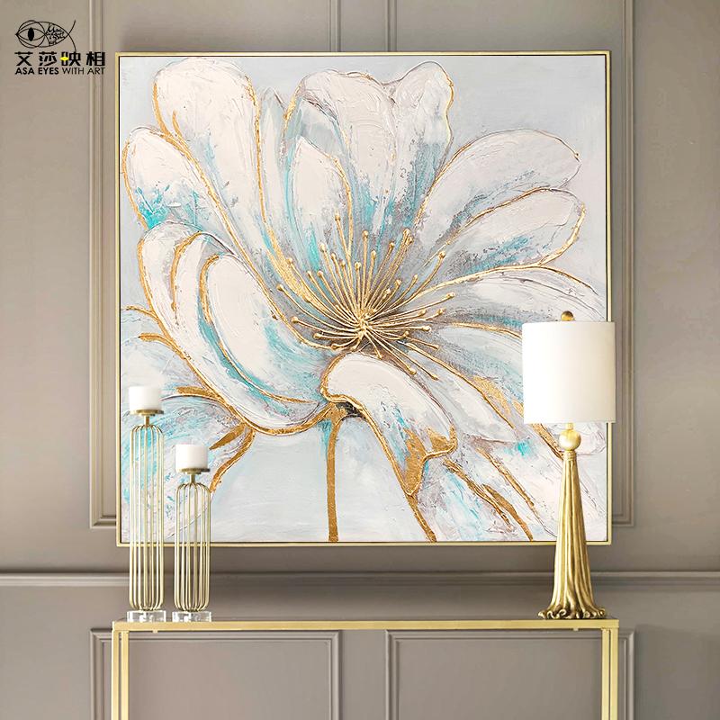 艾莎手繪海棠花油畫雙聯花卉客廳裝飾畫現代簡約飯廳餐廳輕奢掛畫