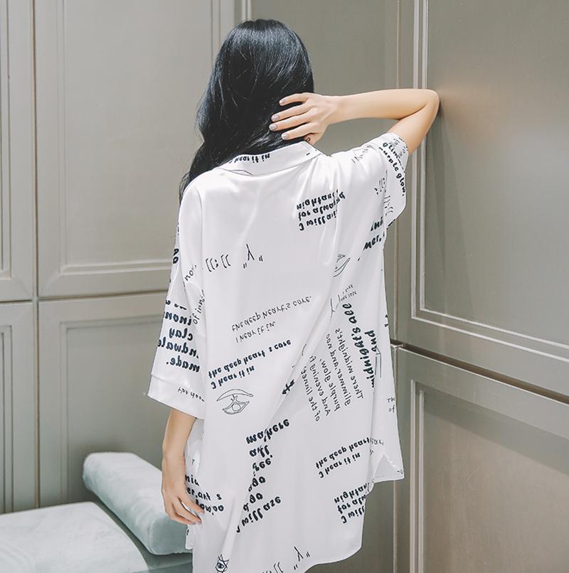 2021睡裙女夏季冰丝性感薄款男友风白衬衫网红中长款春秋真丝睡衣 No.2