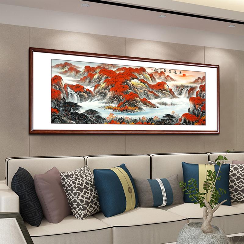 鴻運當頭國畫山水畫手繪真跡李嘉誠掛畫新中式客廳裝飾畫招財風水