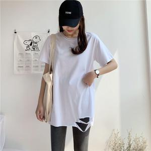 2020春夏装新款中长款白色t恤女短袖下摆破洞宽松百搭打底衫上衣