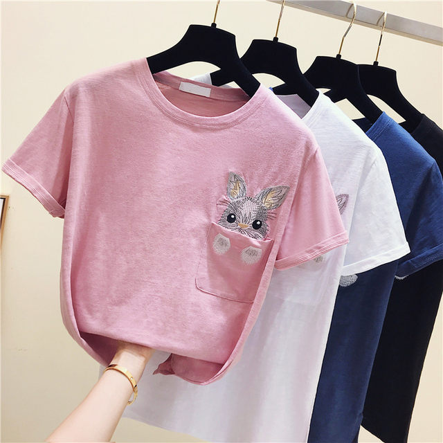 Korean version of the white short-sleeved T-shirt women's top 2020 summer loose plus size autumn all-match bottoming shirt slub cotton