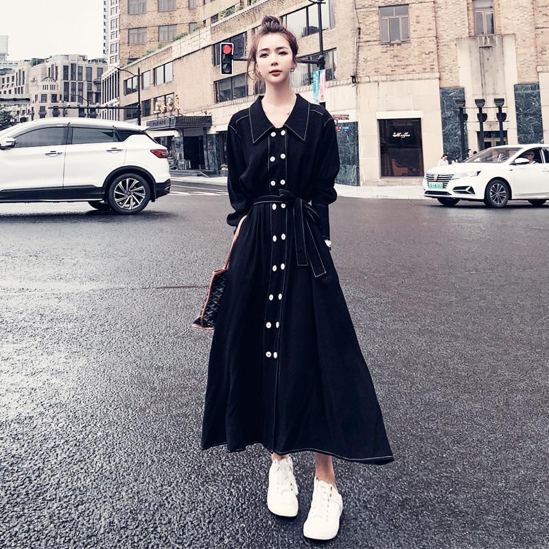 连衣裙女春秋2021新款轻奢小众炸街气质裙子长袖黑色显瘦衬衫长裙