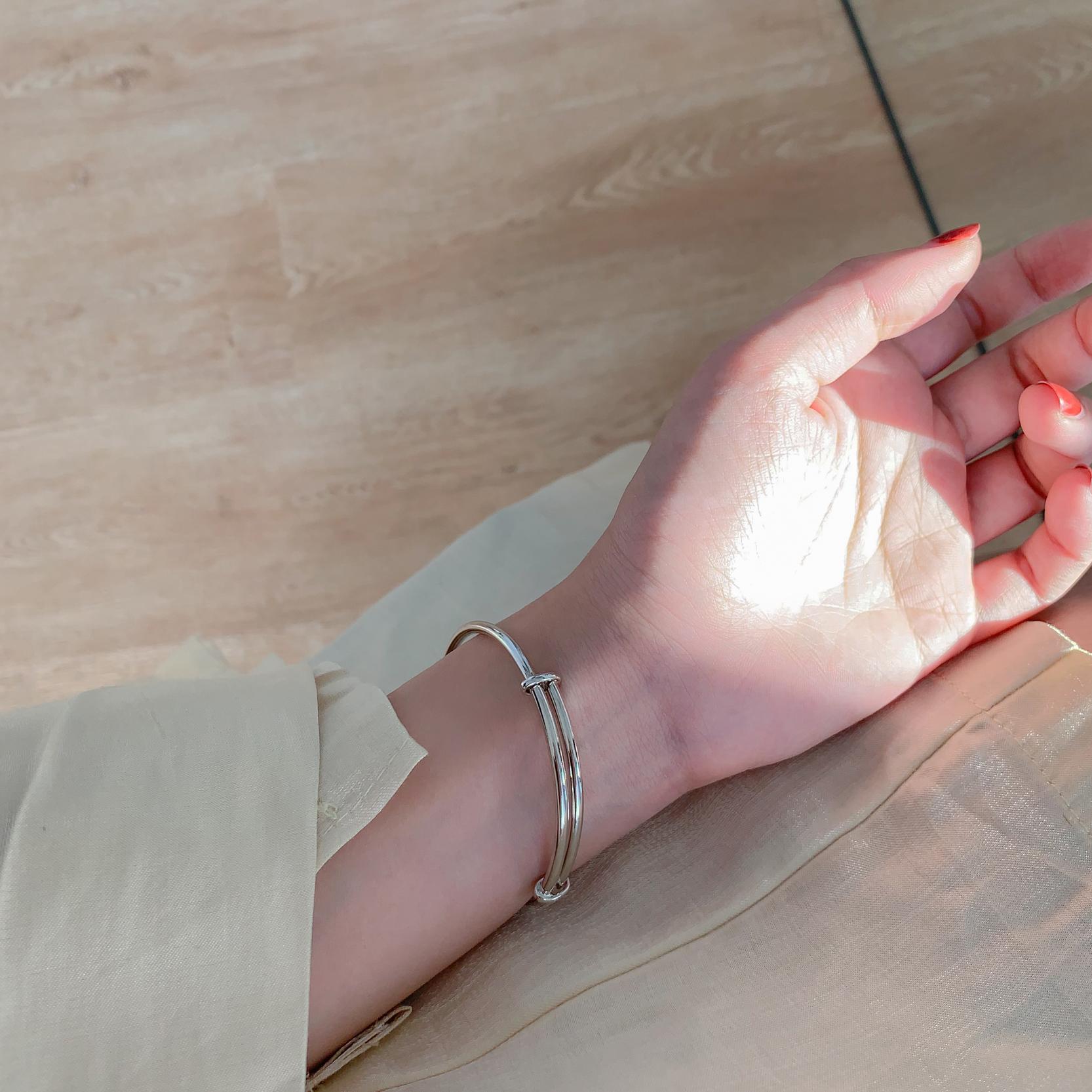 重工设计感抽拉式银手镯女时尚个姓复古简约百搭创意手环潮 为晚