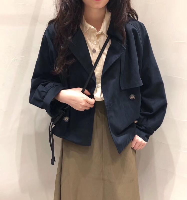 韩国订单。2020秋季新复古小个子短款风衣女韩版chic宽松气质外套