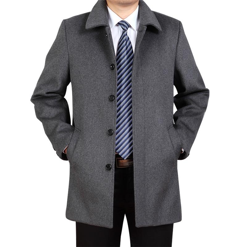 冬季中老年男士羊绒大衣宽松加厚中长款毛呢大衣大码呢子外套风衣