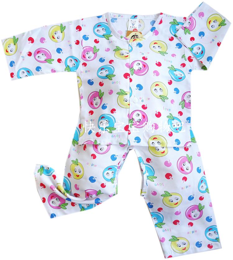 人造棉新生兒衣服寶寶夏裝嬰兒碎花棉綢睡長袖套裝純棉開衫睡衣薄