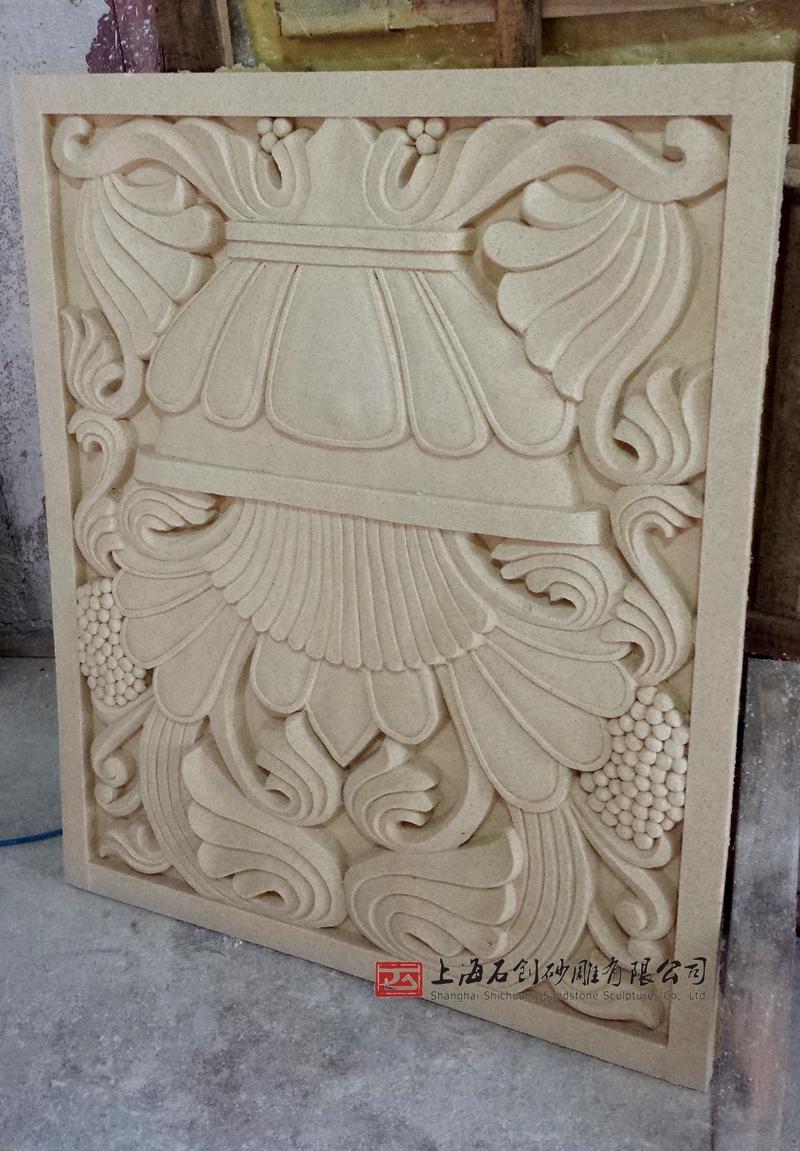 砂岩屏风 人造砂岩立体雕刻 沙雕走道玄关壁画 欧式聚宝盆浮雕