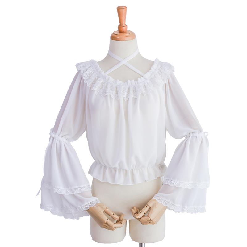 内搭可爱一字领挂脖衬衫 lolita 洋装夏季雪纺姬袖上衣 洛丽塔日常