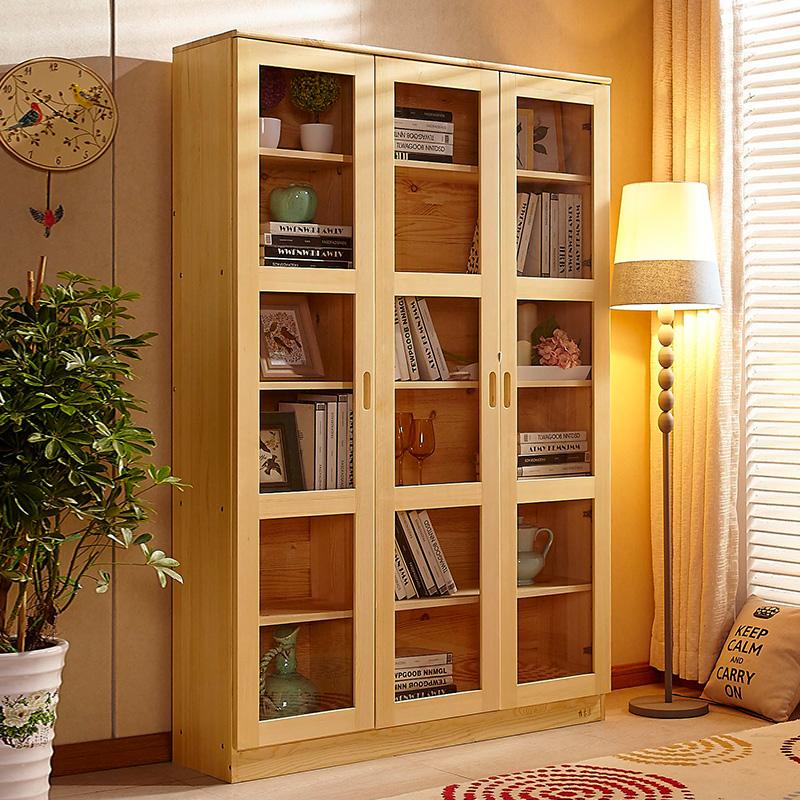 松木家具全实木书柜书架自由组合书橱 简约现代组装成人带2门3门