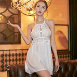 Net Halter skirt perspective sexy lingerie sleepwear apron type yarn lace halter Ding slim suit adult female