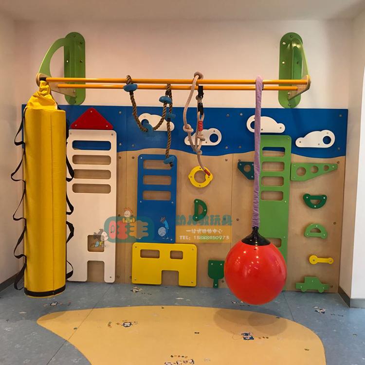 攀岩墙 早教感统体能训练木制攀爬墙悬架幼儿园健身儿童运动器材