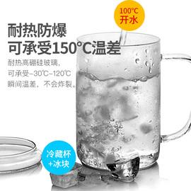 雅集豪饮杯玻璃茶杯大容量直觉办公室耐热透明泡茶杯家用水杯带盖