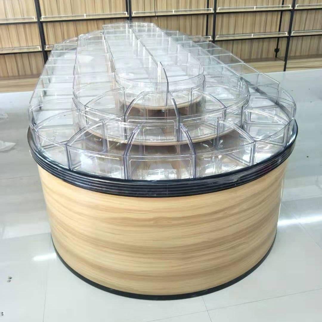 超市散貨散稱零食貨架散裝圓形中島柜零食干貨干果展柜貨架展示架