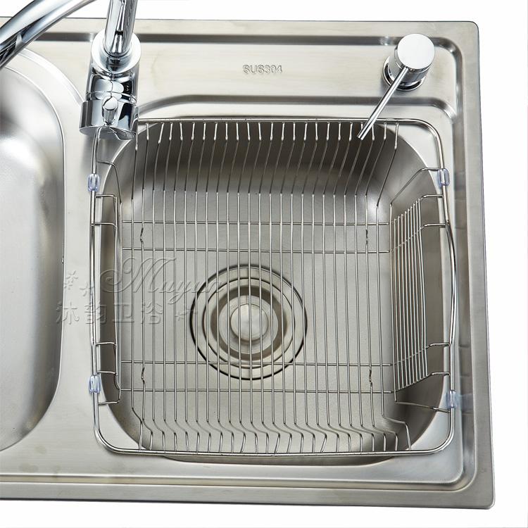 淘菜架 水蓝 水槽沥水篮不锈钢沥水架洗菜篮洗菜盆篮厨房配件