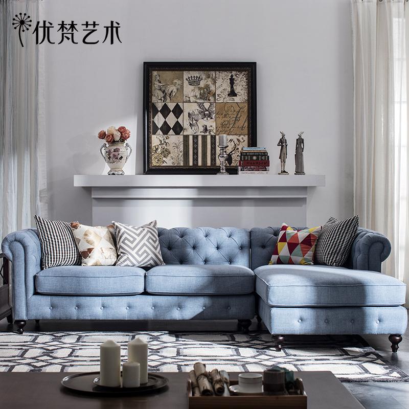 优梵艺术Bach美式轻奢布艺沙发组合转角简约现代户型客厅拐角整装