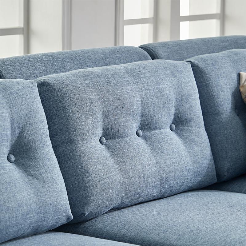优梵艺术布艺沙发组合小户型转角L型北欧风简约现代客厅家具整装