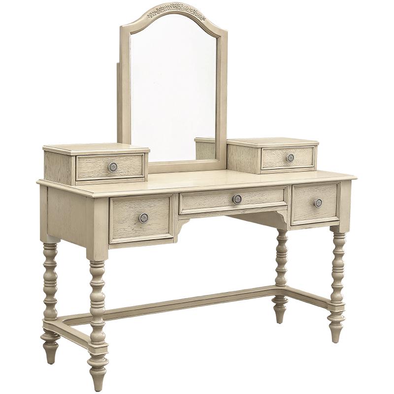 优梵艺术Trunk美式实木脚化妆公主梳妆台柜卧室组装家具复古储物