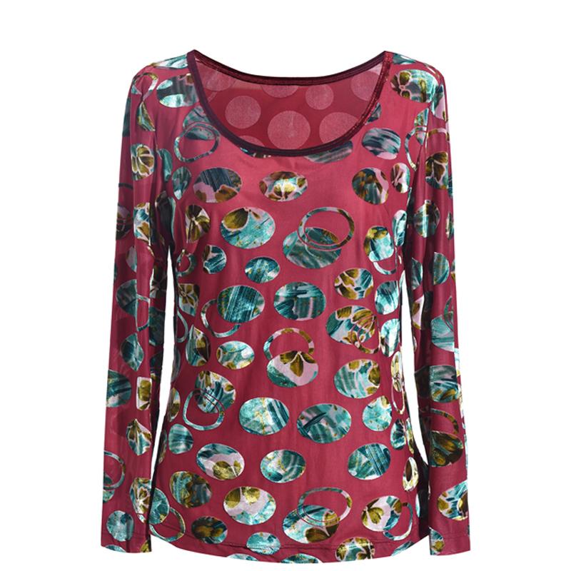 秀巧新款邂逅復古情弹力T恤凹凸立体花稀缺款印花圆领丝绒打底衫