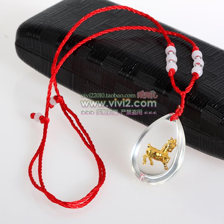 买二送一水晶镶金箔晶美金十二生肖吊坠红绳项链饰品狗年属相挂坠