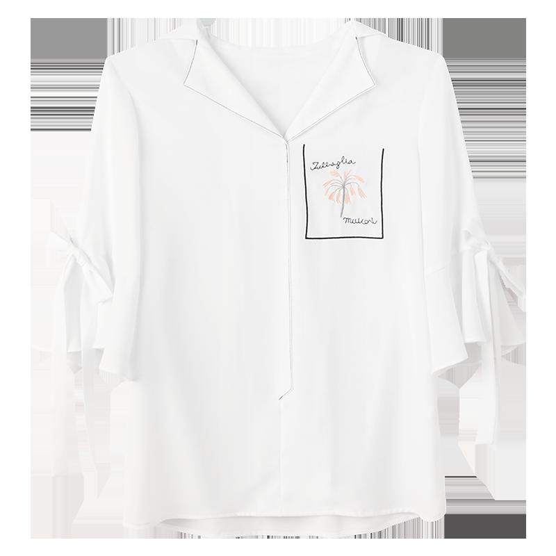 白色衬衫女设计感小众雪纺衫女短袖薄款夏季2021新款法式别致上衣主图