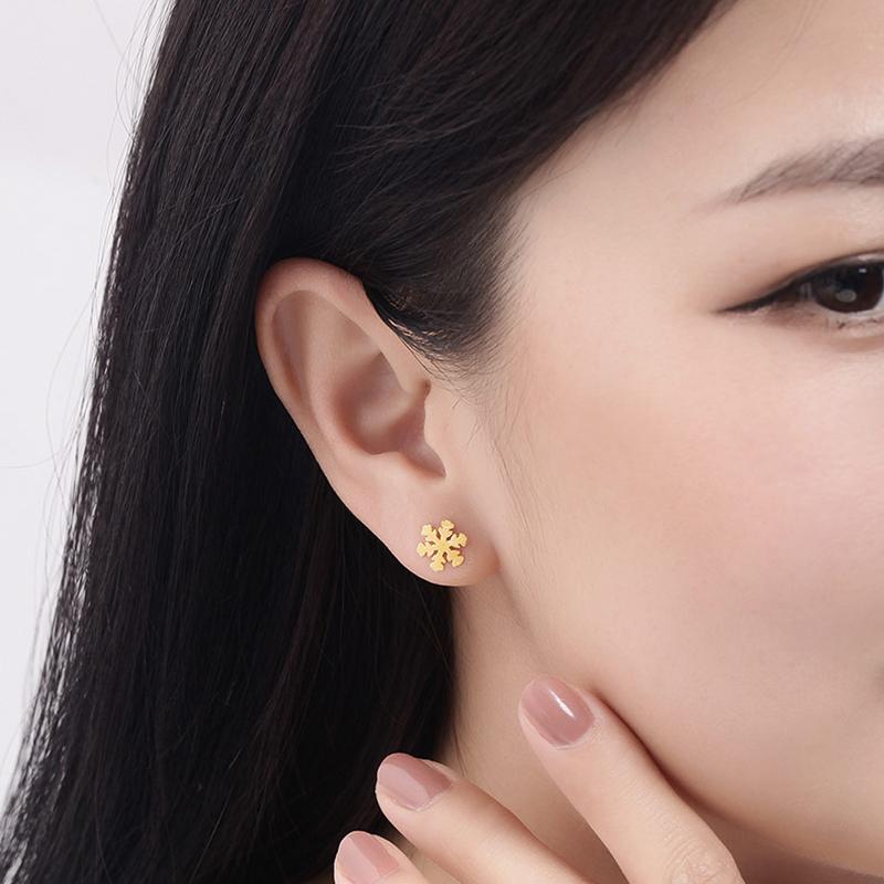AFH0039  元计价 50 明牌珠宝黄金耳钉 简约时尚雪花耳钉耳饰女款 工费