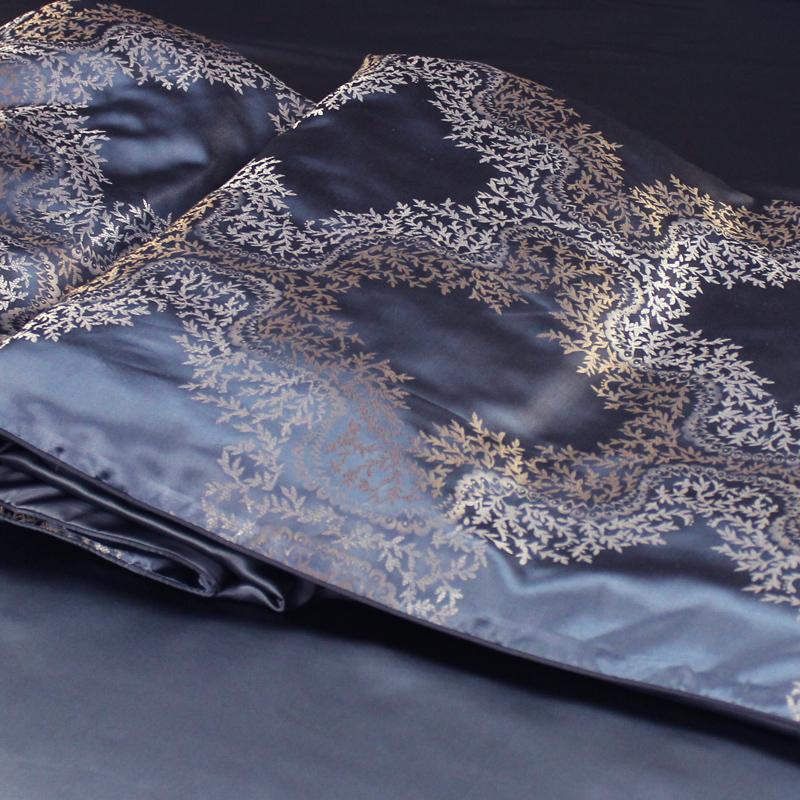 丝若水品牌加厚色织提花配纯色真丝被套 双面宽幅桑蚕丝被罩 定制