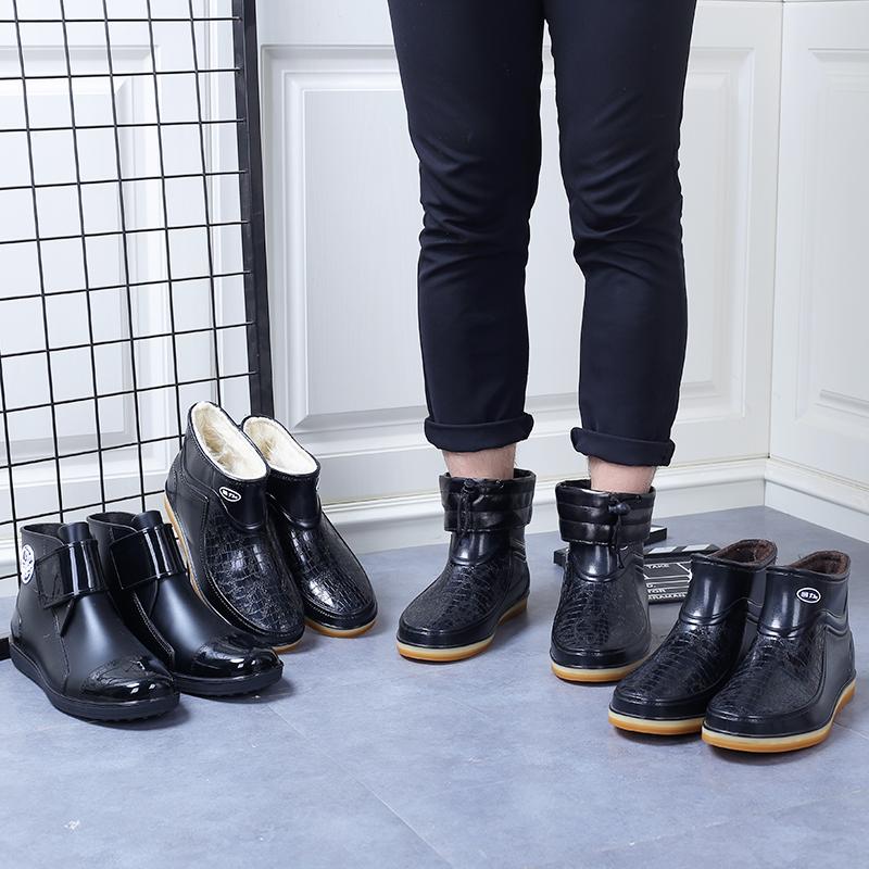 回力雨鞋男短筒冬季保暖加绒套鞋低帮加棉雨靴防滑胶鞋耐磨防水鞋