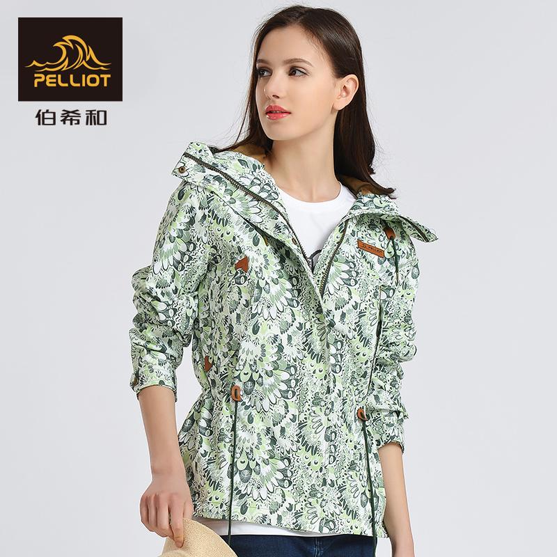 伯希和户外春秋女单层运动风衣印花旅行外套防水薄款保暖冲锋衣