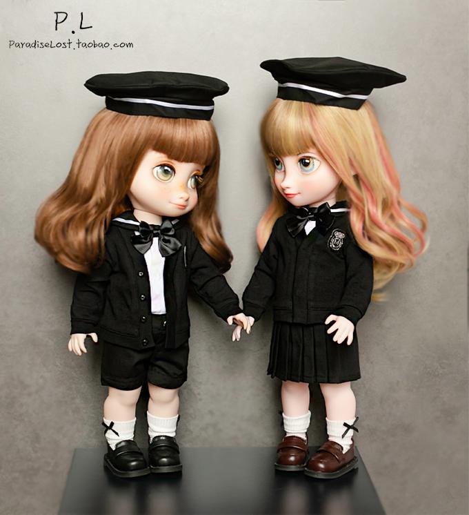 【PL】迪士尼16寸40cm沙龙娃娃衣服英伦双子校服套装带帽制服短裤