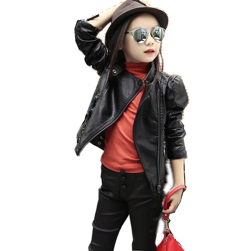 亲子装儿童皮衣中大童女童个性机车皮衣女欧美风长袖上衣短款外套