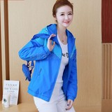 Women's sportswear autumn and spring style Lady windbreaker coat jacket single-color insert sleeve windbreaker jacket sports