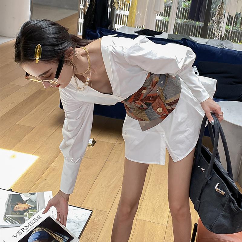 长袖衬衫裙短款白裙子