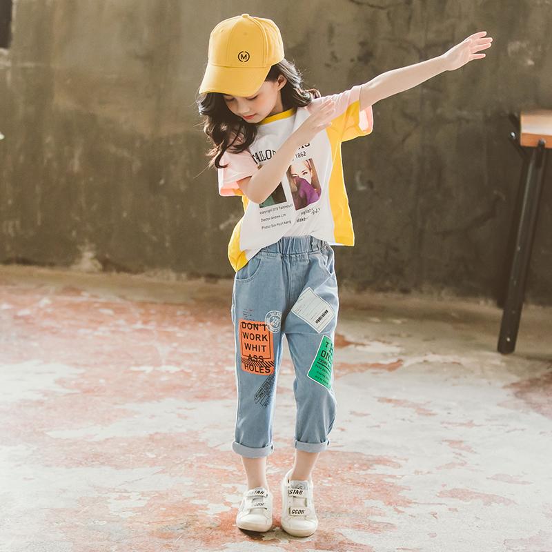 女童夏装套装2019新款洋气时髦网红8儿童装9夏季10小女孩衣服12岁