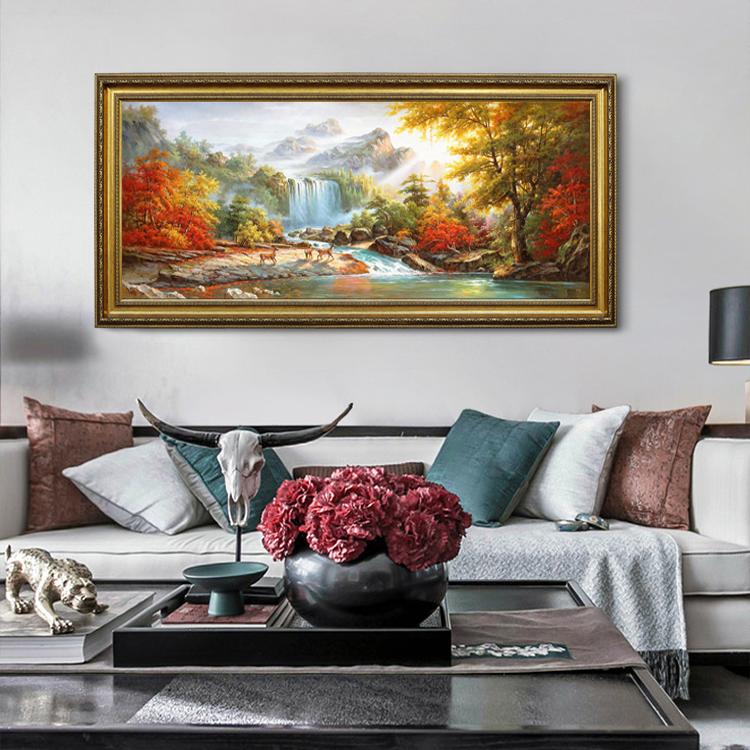 手繪油畫鹿歐式山水風景美式客廳臥室新中式裝飾畫聚寶盆瀑布墻掛
