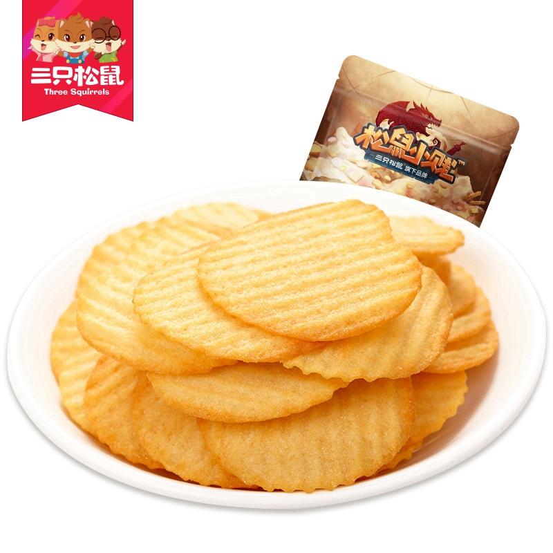 【三只松鼠_脆薯100g】休闲零食膨化食品薯片番茄味办公室小吃