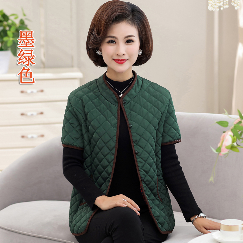 妈妈装薄款小棉衣 短袖纯色立领坎肩外套 秋冬中老年女装短款棉服
