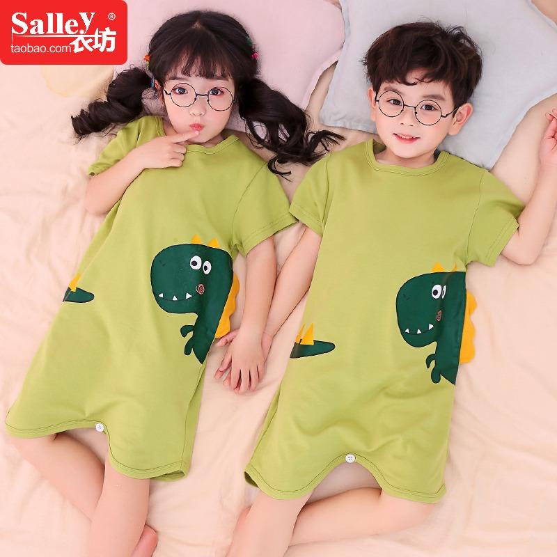 恐龙男童连体睡衣夏季纯棉中大童短袖薄款儿童空调服小孩防踢睡袋