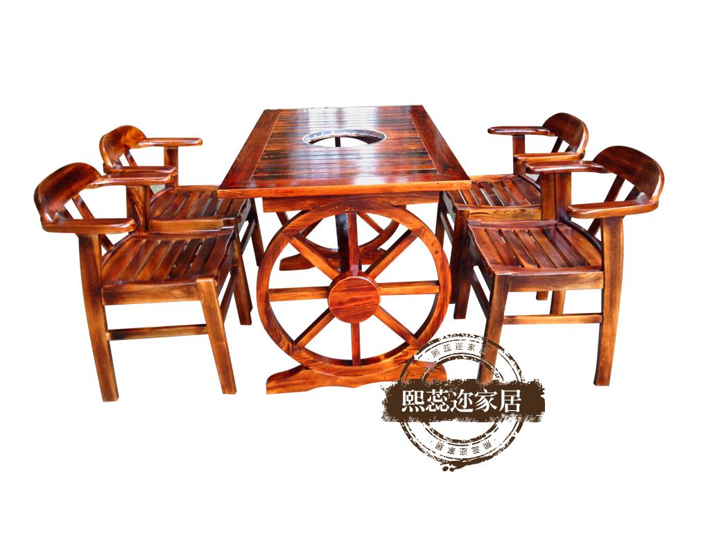 特色车轮大理石火锅桌椅电磁炉液化灶实木柜式火锅桌椅实木创意