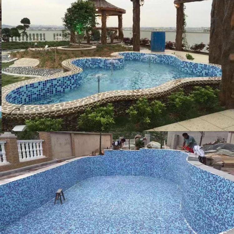 蓝白色水池游泳池马赛克瓷砖浴室背景墙水晶玻璃金线幻彩自粘背胶