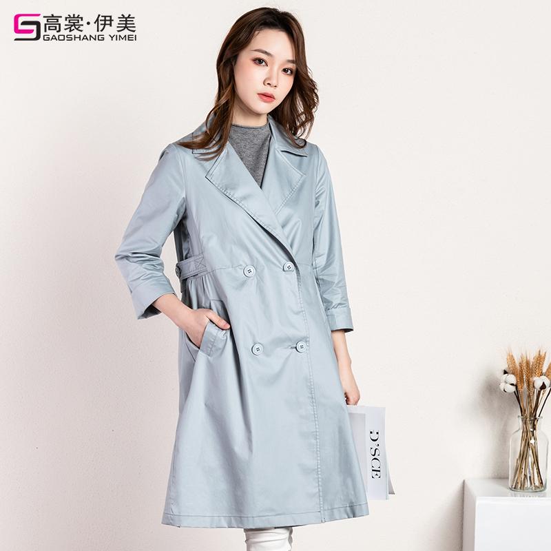春秋季新款韩版流行双排扣薄小个子外套 2019 卡其色风衣女中长款