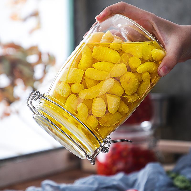 密封罐玻璃食品级瓶子蜂蜜瓶泡酒泡菜坛子空瓶带盖家用小储物罐子