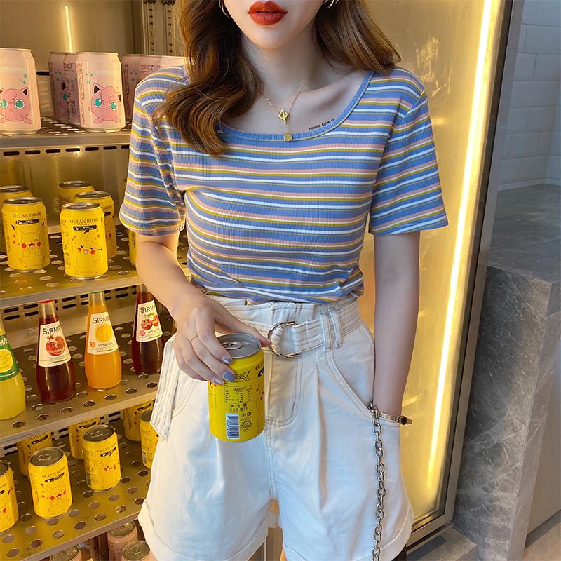 短款t恤女夏装2021年新款网红ins潮修身条纹法式锁骨方领短袖上衣