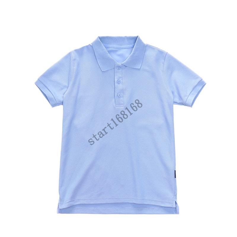 中小学生校服套装学院英伦风园服夏装湖兰纯色t恤 短袖polo衫上衣