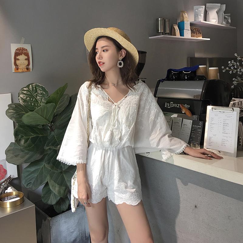 cheeseY夏2018新款上衣配短裤两件套网红女神蕾丝时尚阔腿裤套装