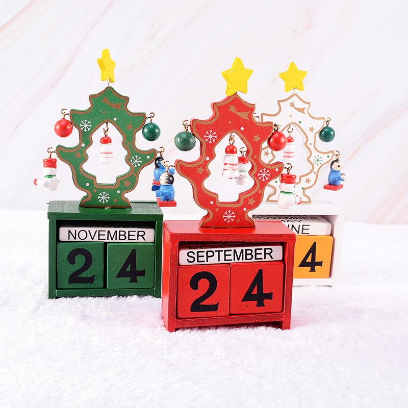 儿童节装饰品礼物 桌面小型木质DIY圣诞树日历 圣诞日历橱窗摆件