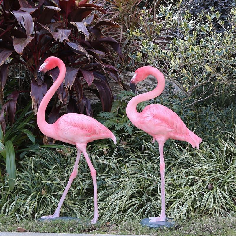 玻璃钢雕塑仿真火烈鸟摆件大户外花园庭院婚庆道具店铺橱窗装饰品