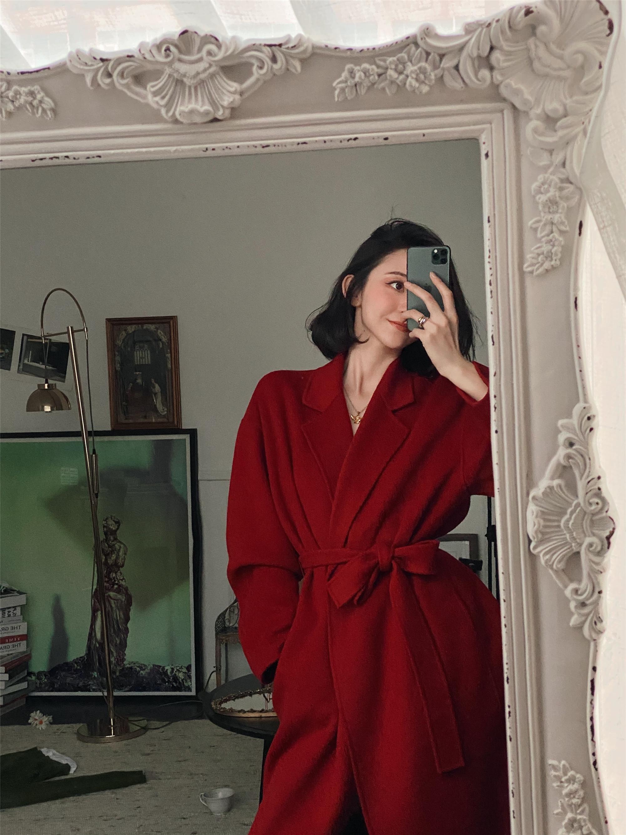 NeeDshop12021秋冬新款红色气质收腰系带中长款羊毛双面呢大衣