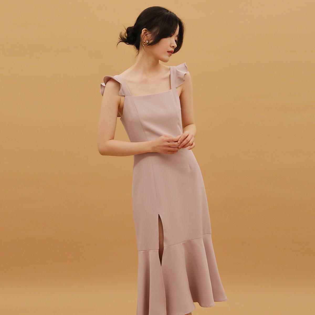 TANSSHOP新款2020连衣裙荷叶边吊带修身显瘦鱼尾开叉中长裙伴娘裙